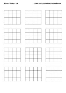 Bingo Blanks 4 x 4