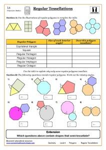 Geometry Maths Worksheet ks3, Regular Shapes