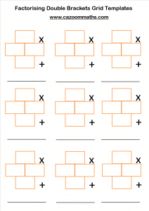 Factorising Double Brackets Grid Templates