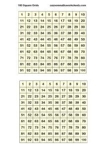 100 Square Grids (2 per page)
