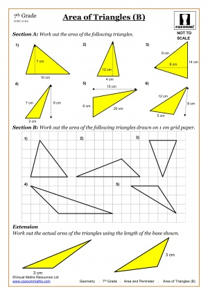 Area of Triangles Math Worksheet
