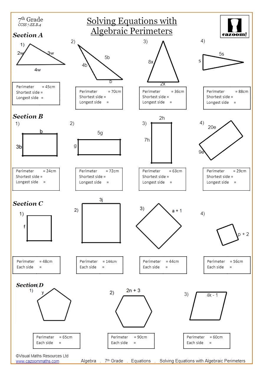 Solving Equations Worksheets PDF  Cazoom Math Inside One Step Equations Worksheet Pdf