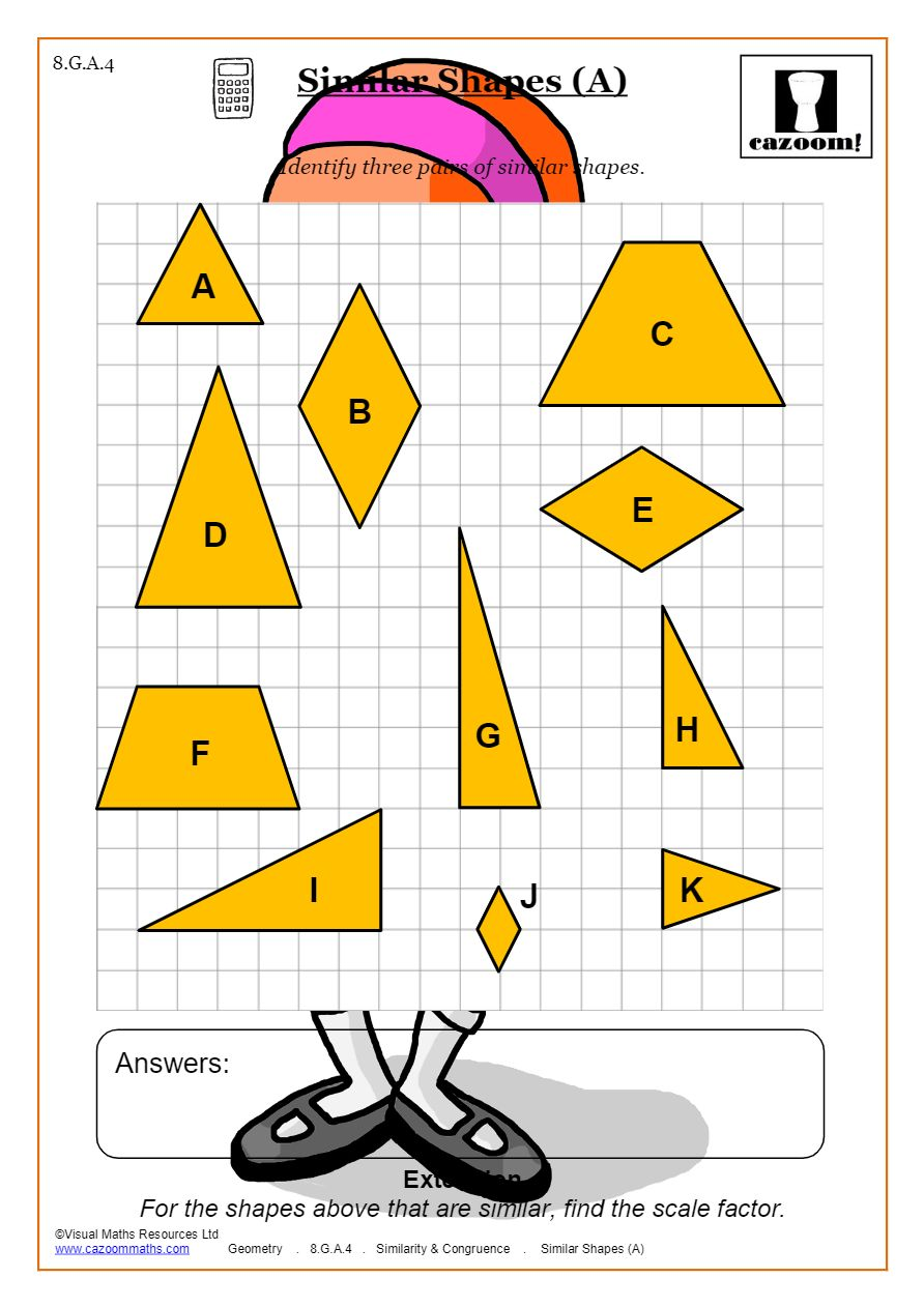 Congruence And Similarity Worksheets  Cazoom Maths Inside Similar Figures Worksheet Answers