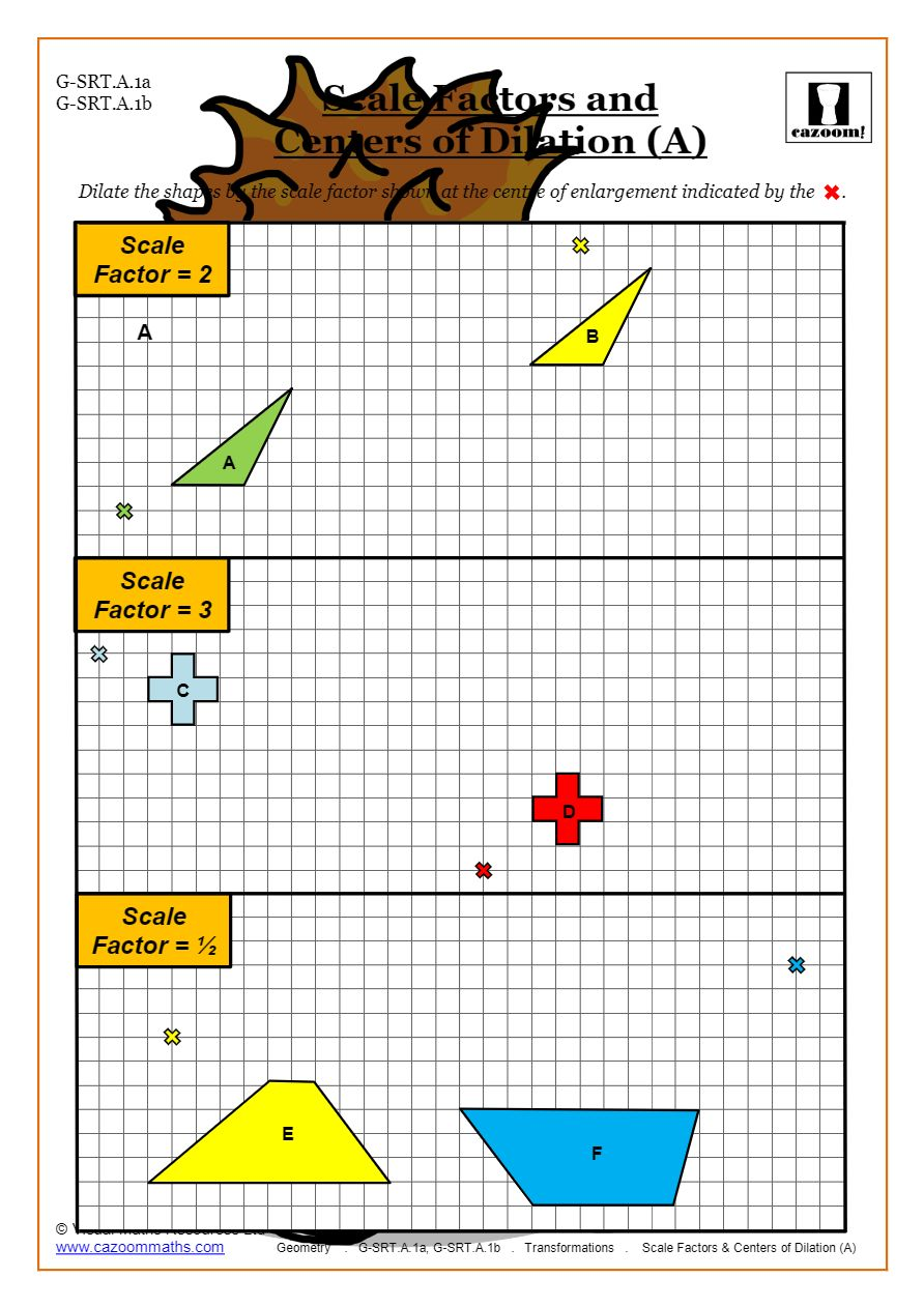 Transformations Worksheets (Geometry)  Cazoom Maths Throughout Dilations Translations Worksheet Answers