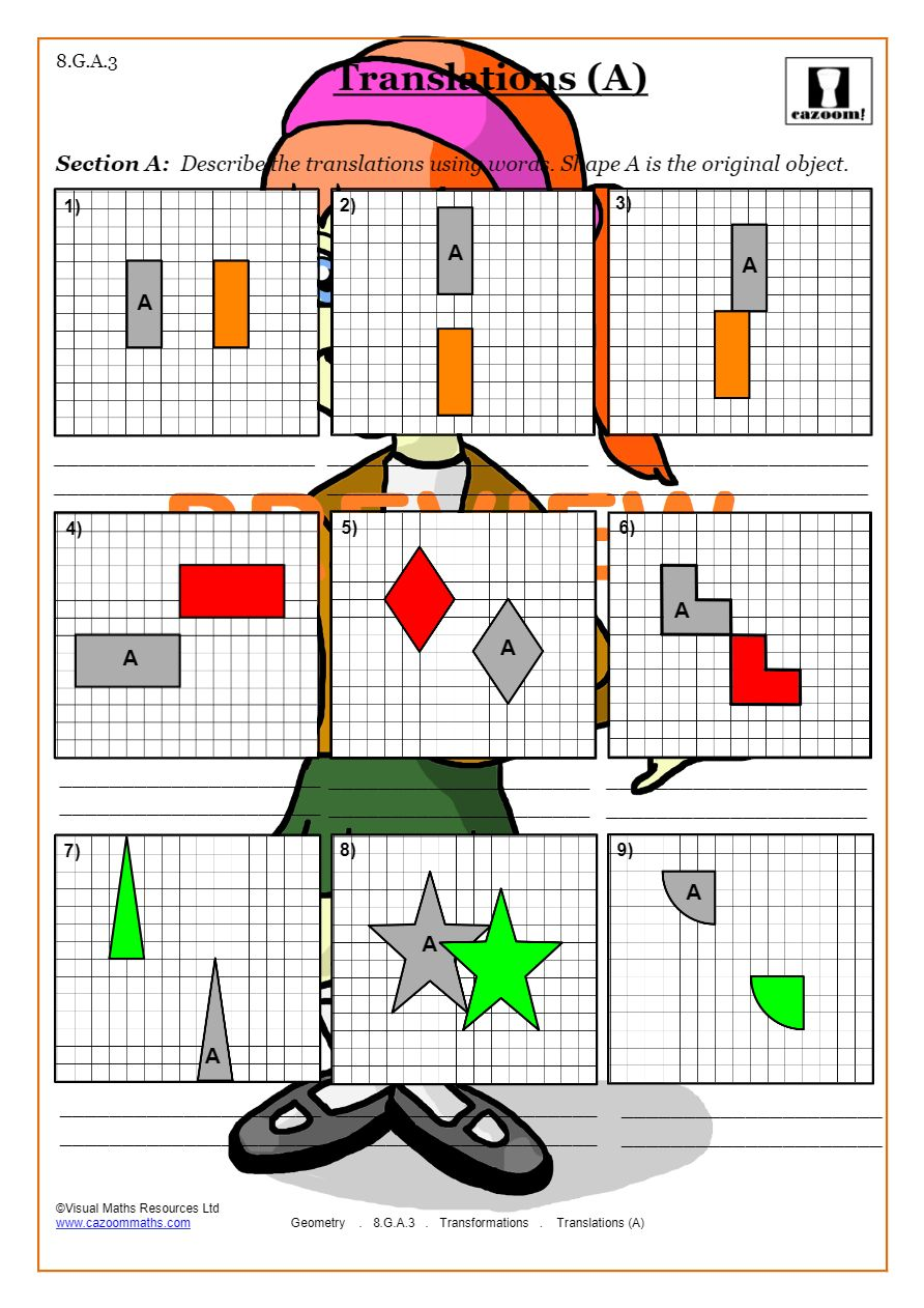 Transformations Worksheets (Geometry)  Cazoom Maths Pertaining To Dilations Translations Worksheet Answers