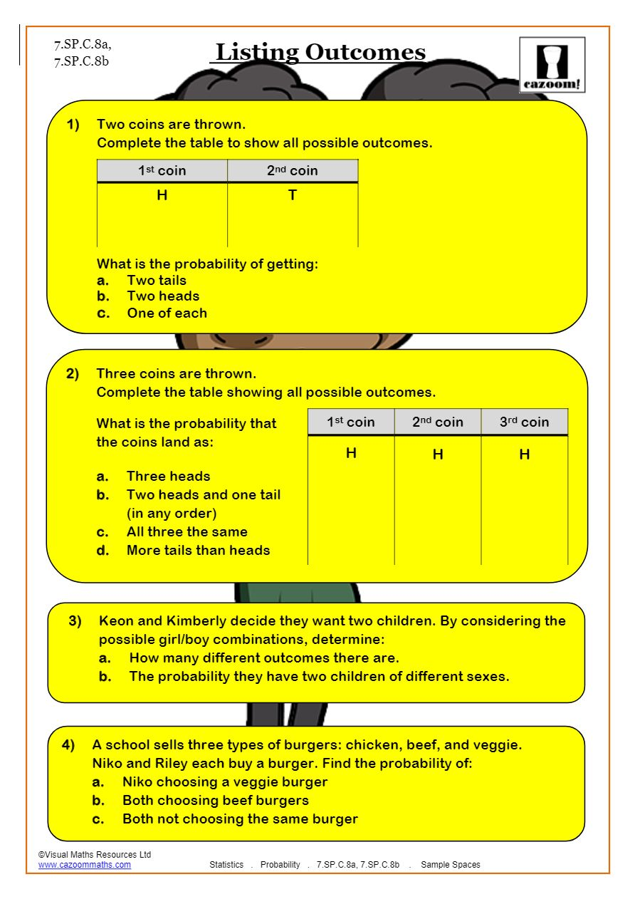 Probability Worksheets  Probability Tree Questions & Answers Regarding Probability Worksheet High School