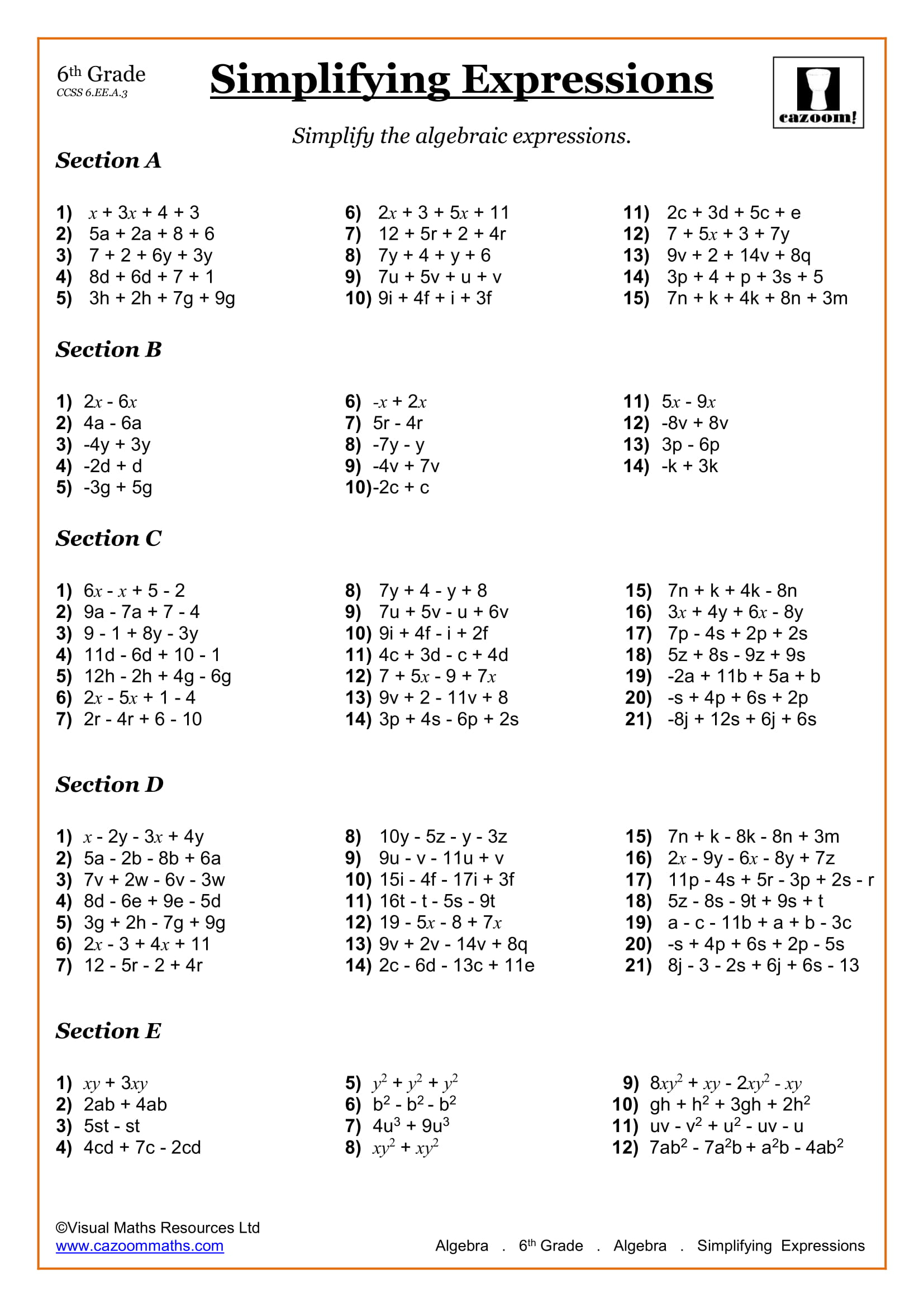 Simplifying 6th Grade Math Worksheet