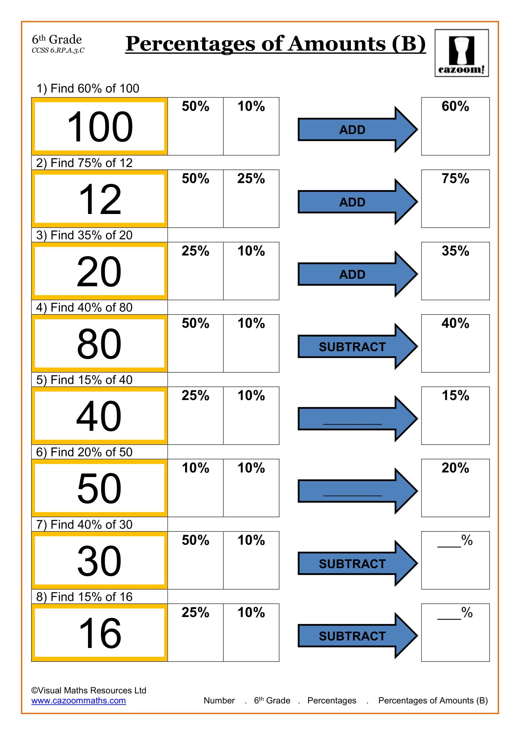 6th Grade Percentages Worksheet