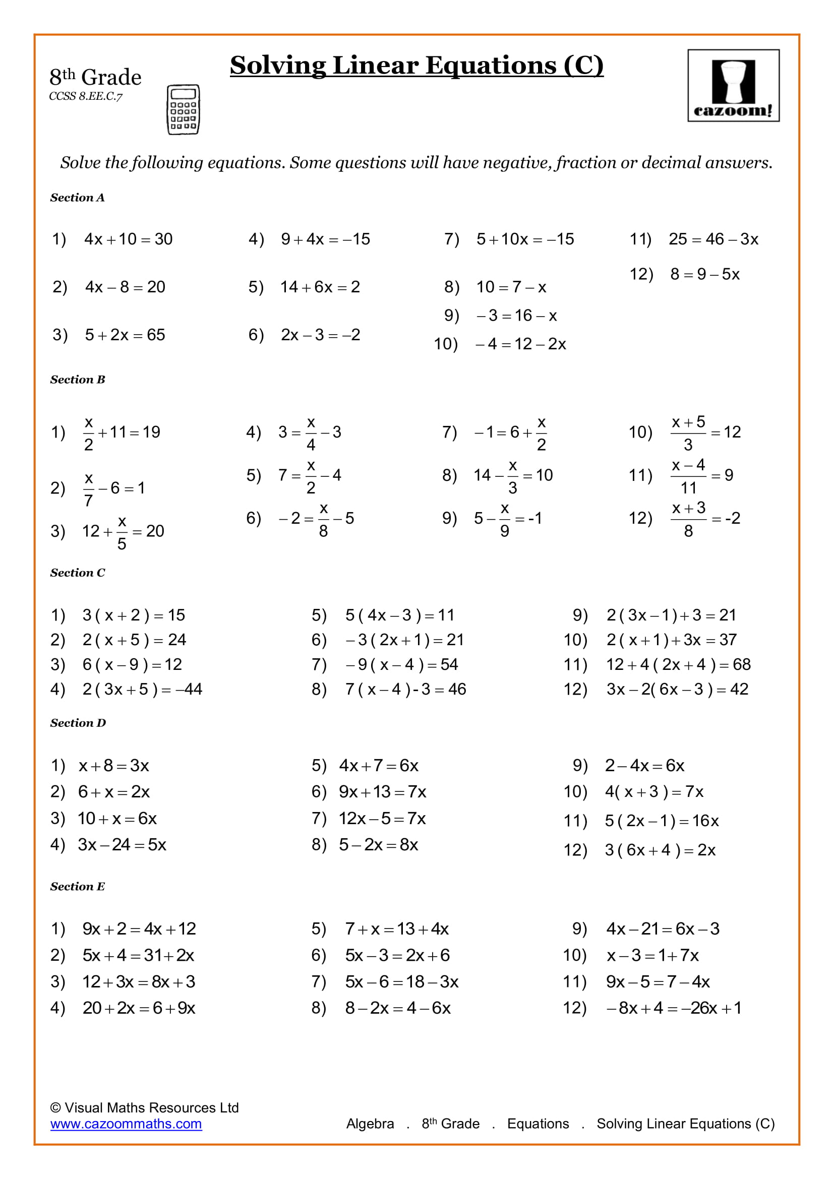 8th Grade Math Worksheets Printable Pdf Worksheets