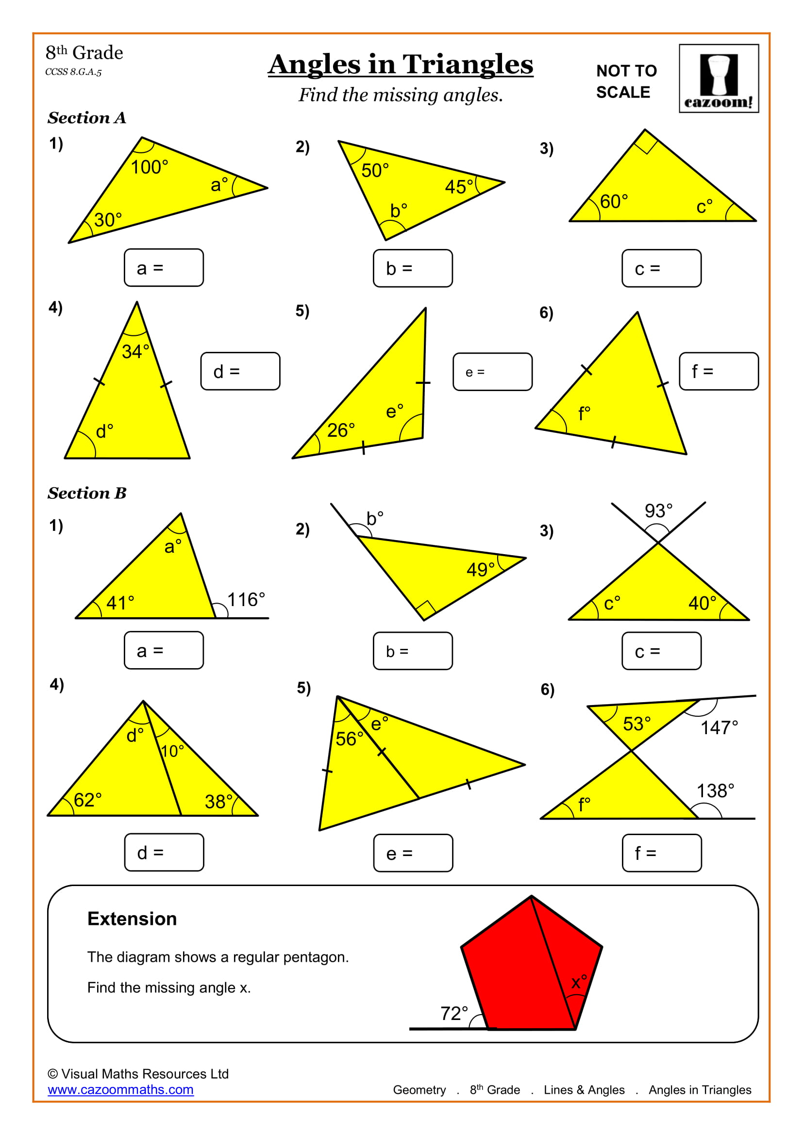 Geometry.Lines and Angles.Angles in Triangles.US 1 - 8th Grade Math Worksheets