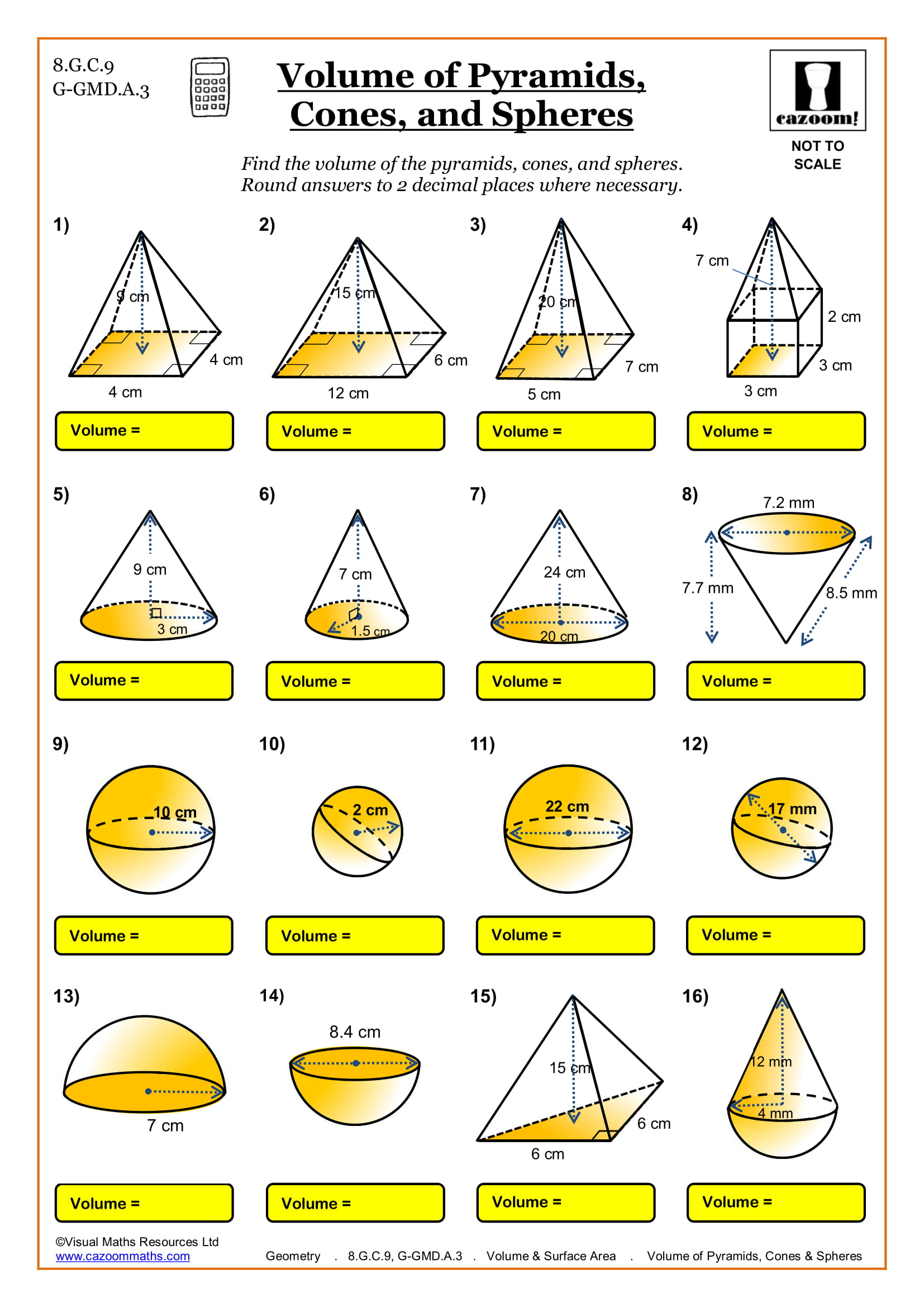Geometry.Volume and Surface Area.Volume of Pyramids Cones and Spheres.US 1 - 8th Grade Math Worksheets
