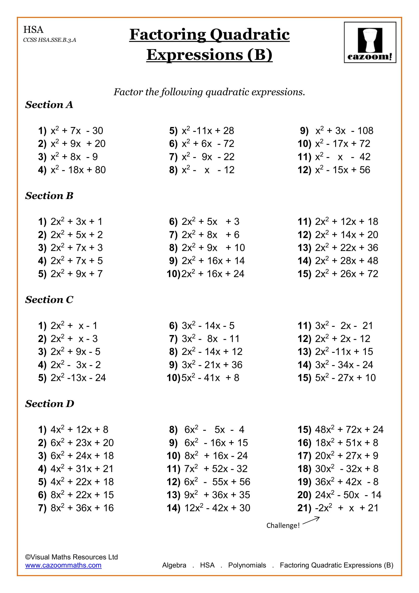 High School Math Worksheets   Math Worksheets PDF