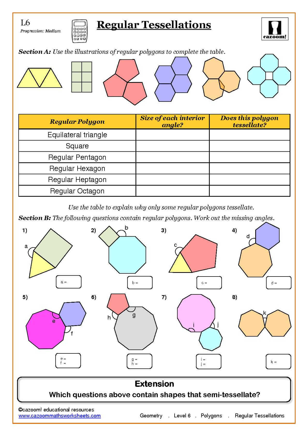 Geometry Maths Worksheet ks3 Regular Shares – Tessellations Worksheet