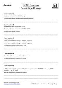 Percentage Change Revision Worksheets