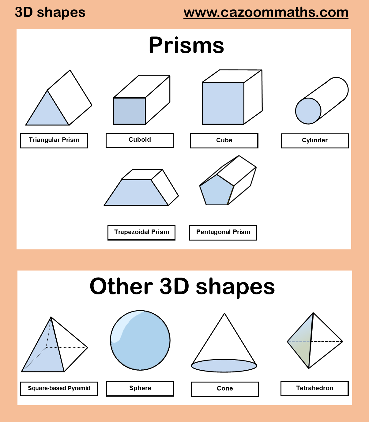 3D Shapes | Cazoom Maths Worksheets