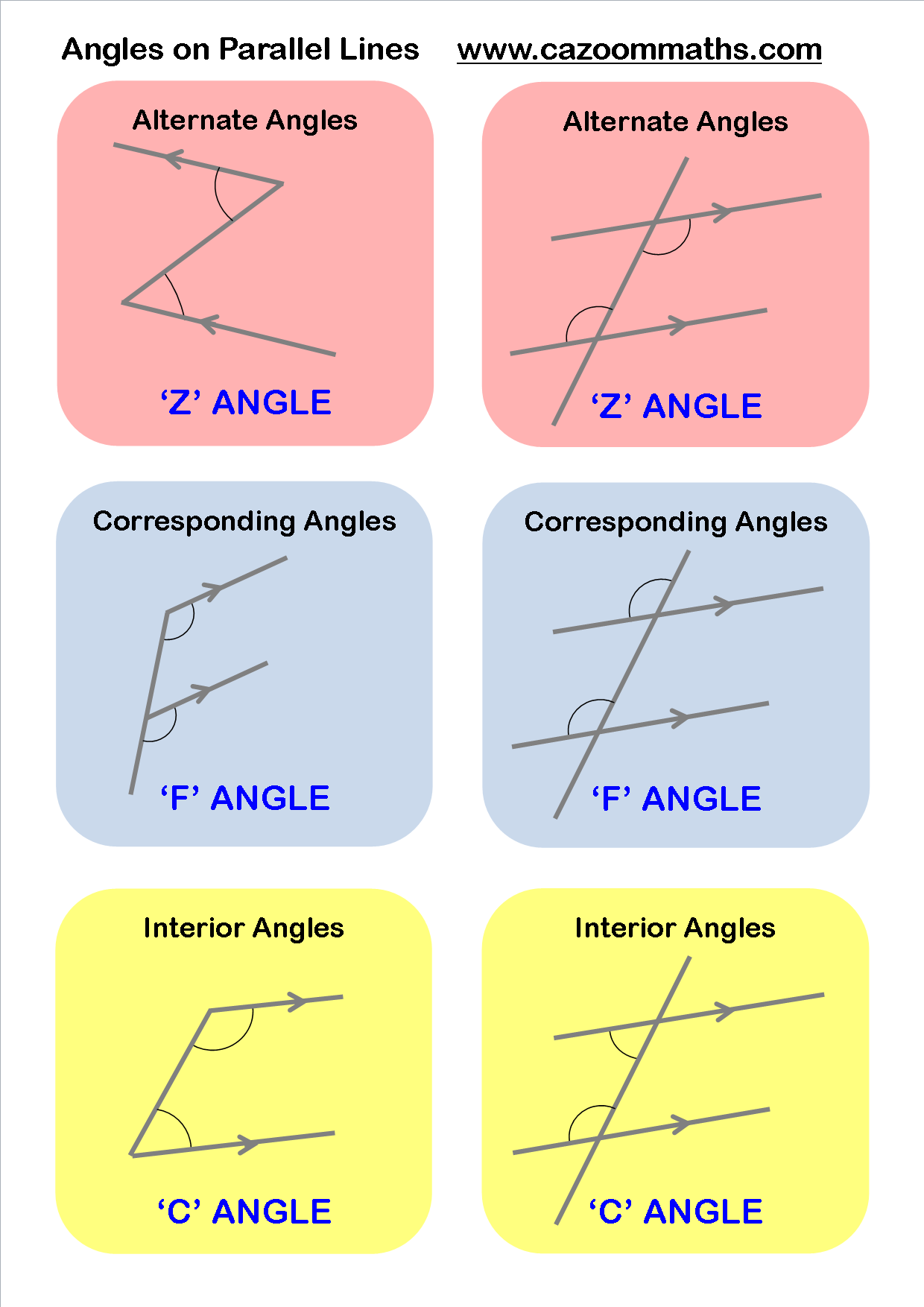 parallel lines angles worksheet