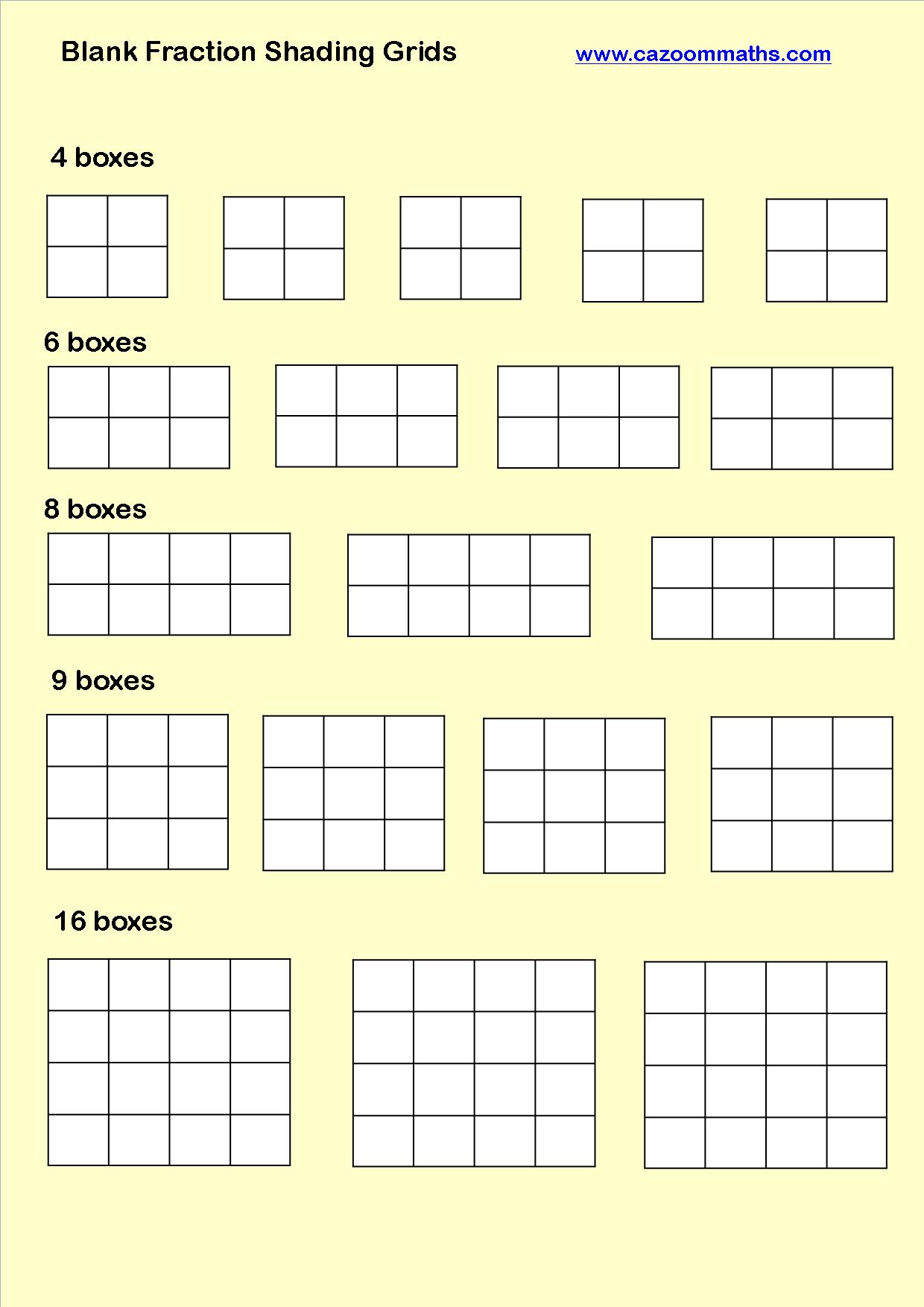 Fraction bars worksheet template