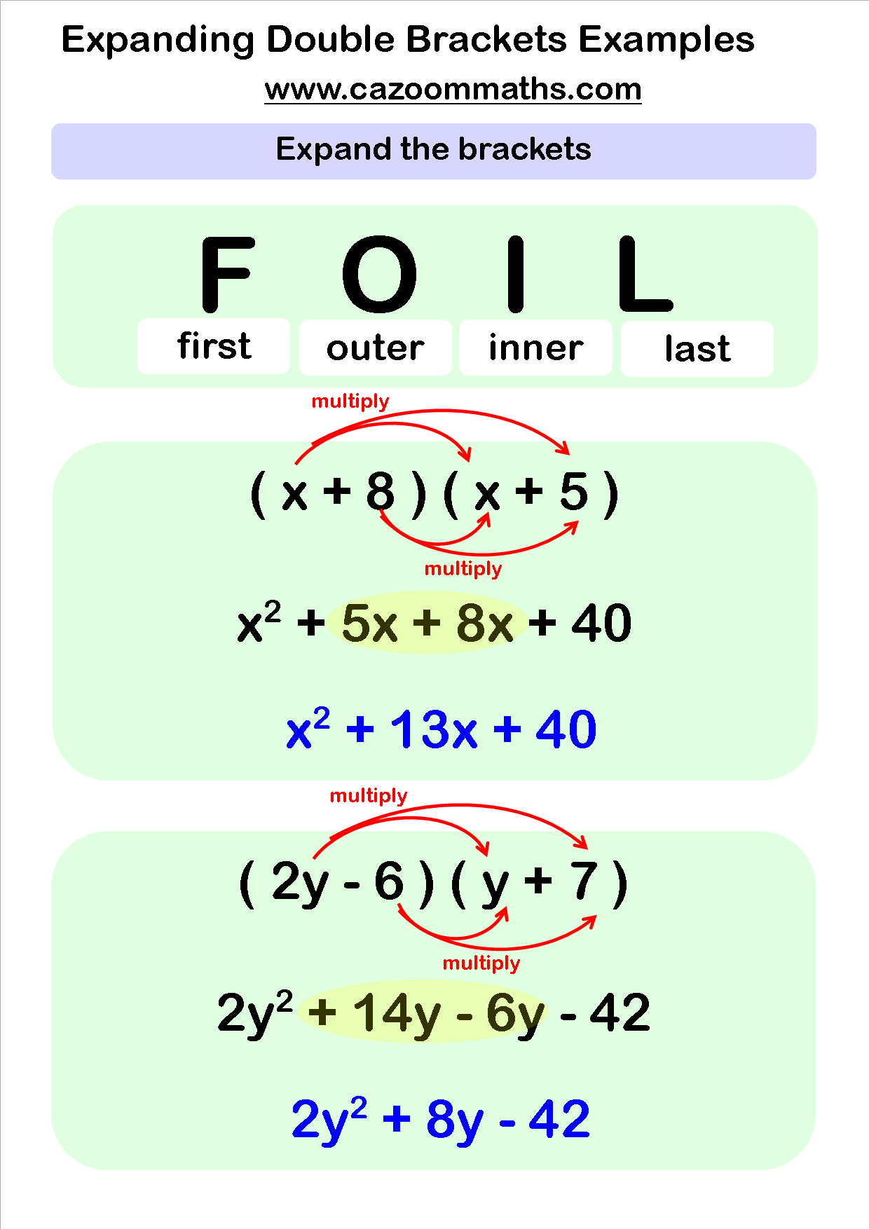 worksheet Foil Worksheets expanding double brackets foil method cazoom maths worksheets method