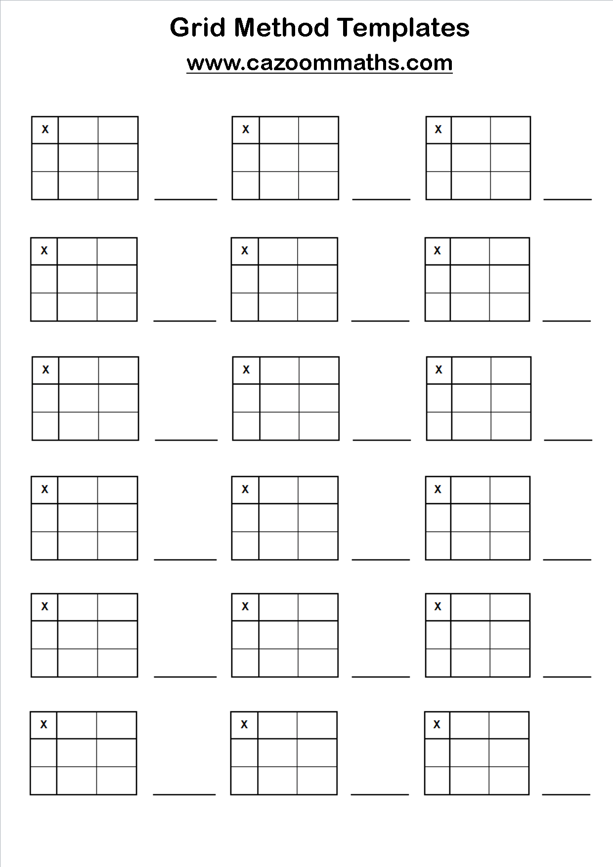 Worksheets Box Method Multiplication Worksheet grid method templates cazoom maths worksheets