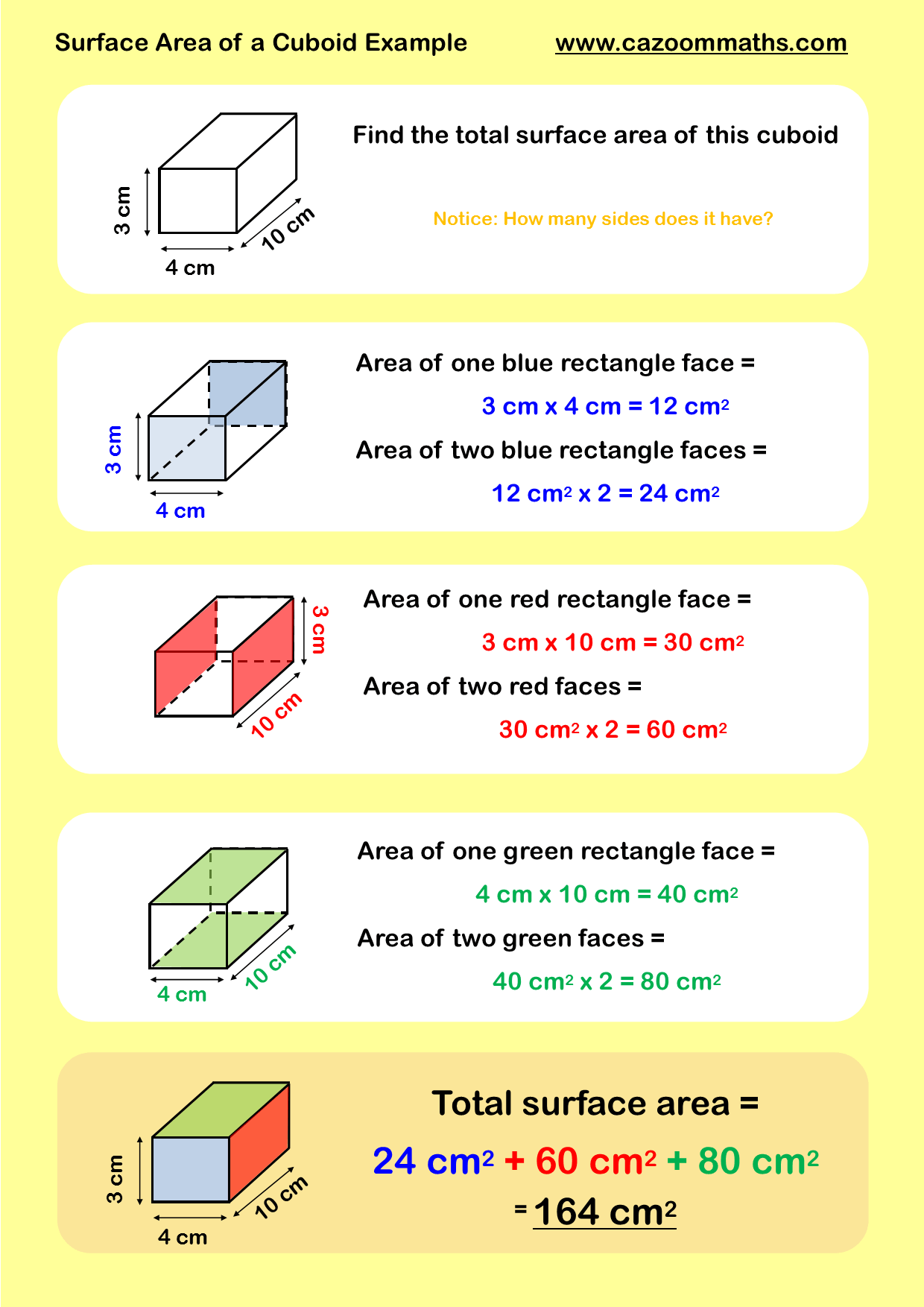 Volume and Surface Area | Cazoom Maths Worksheets