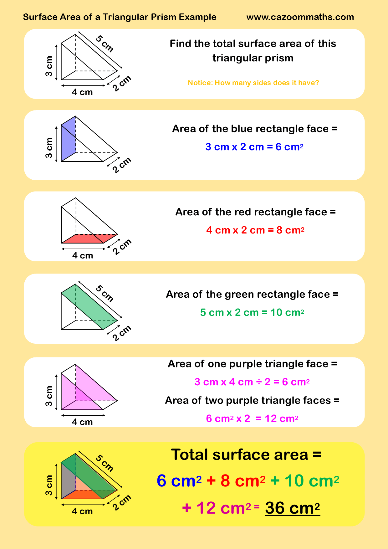 Worksheets Volume And Surface Area Of Triangular Prisms (c ...