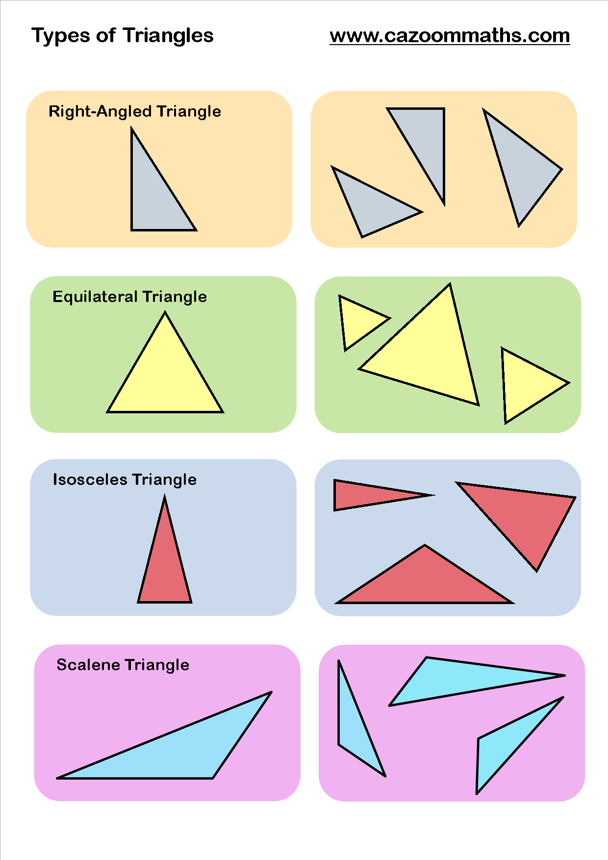 Worksheets Types Of Triangles Worksheet types of triangles cazoom maths worksheets