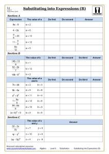 Algebra Substitution Worksheets at Ks4