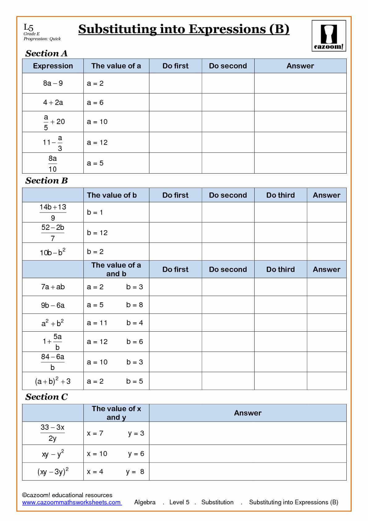 Printables Substitution Worksheet substitution homework tes algebra worksheet abitlikethis