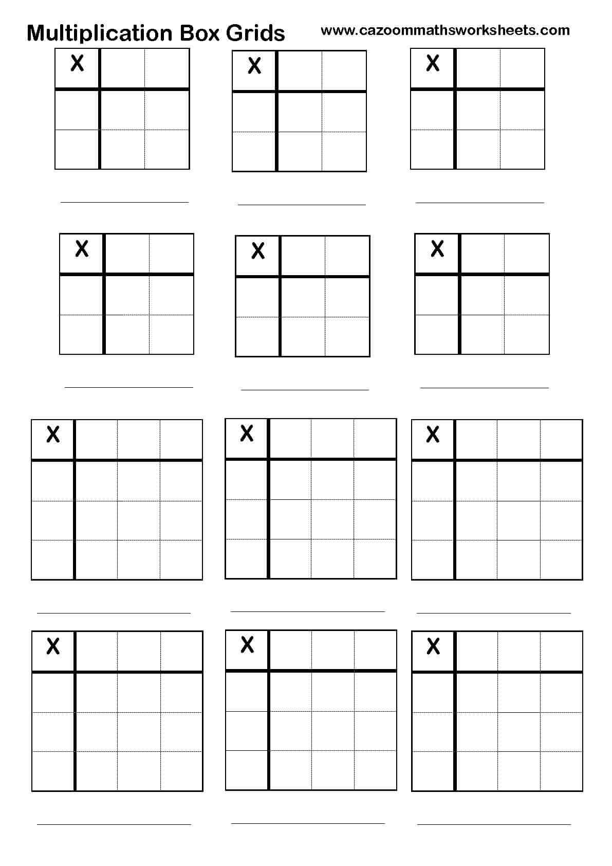 2 digit multiplication worksheets with grid