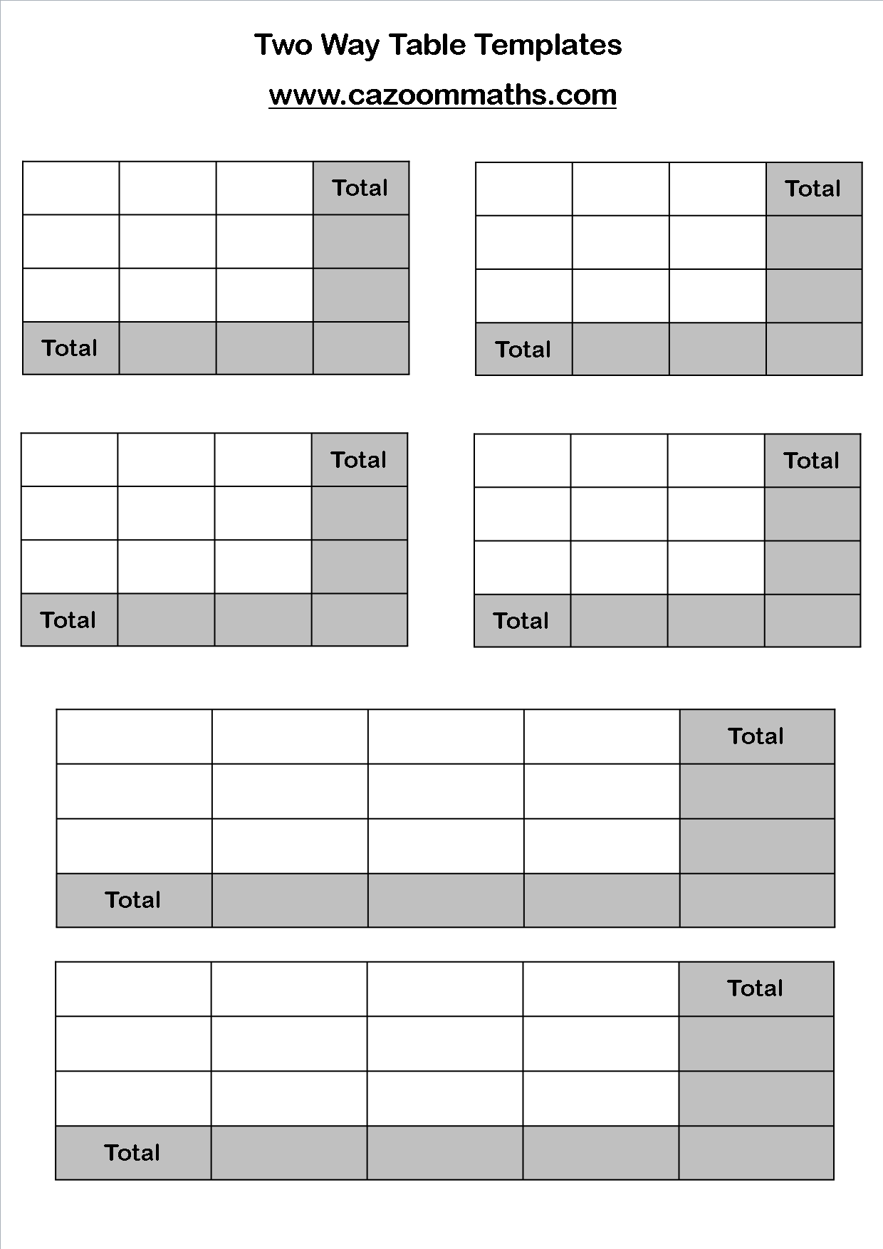 Two-Way Tables and Pictograms | Cazoom Maths Worksheets