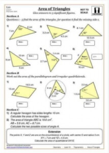 Area maths worksheet