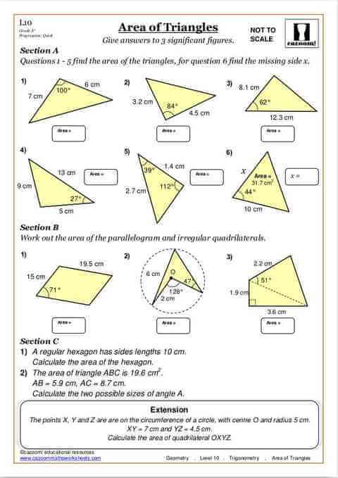 Area Of Triangles Free Printable Maths Worksheet Cazoom Maths
