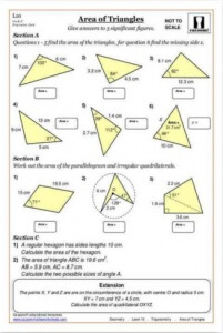 Area of triangles printable maths worksheet