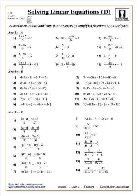 Equations Maths Worksheet