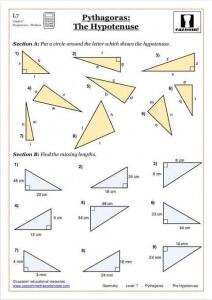 Year 9 Maths Worksheets pythagoras