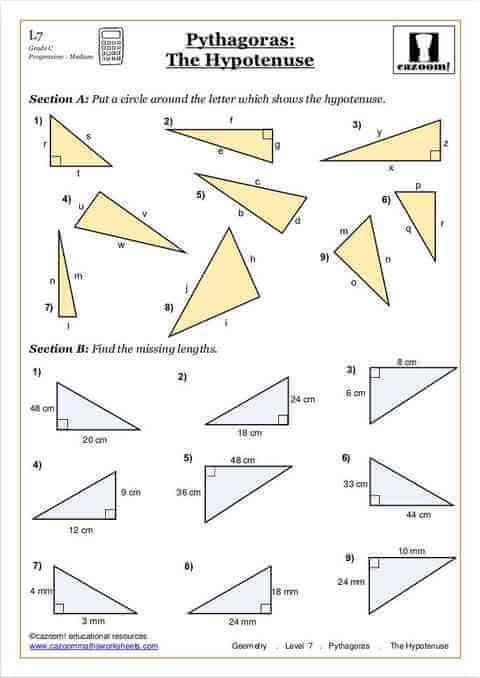 Year 9 Maths Worksheets pythagoras