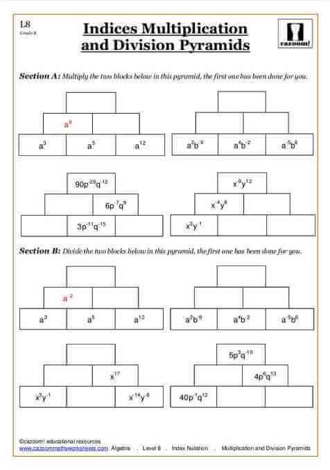 Common Worksheets multiplication ladder worksheets : KS3 Mathematics Worksheets | Cazoom | Cazoom Maths Worksheets