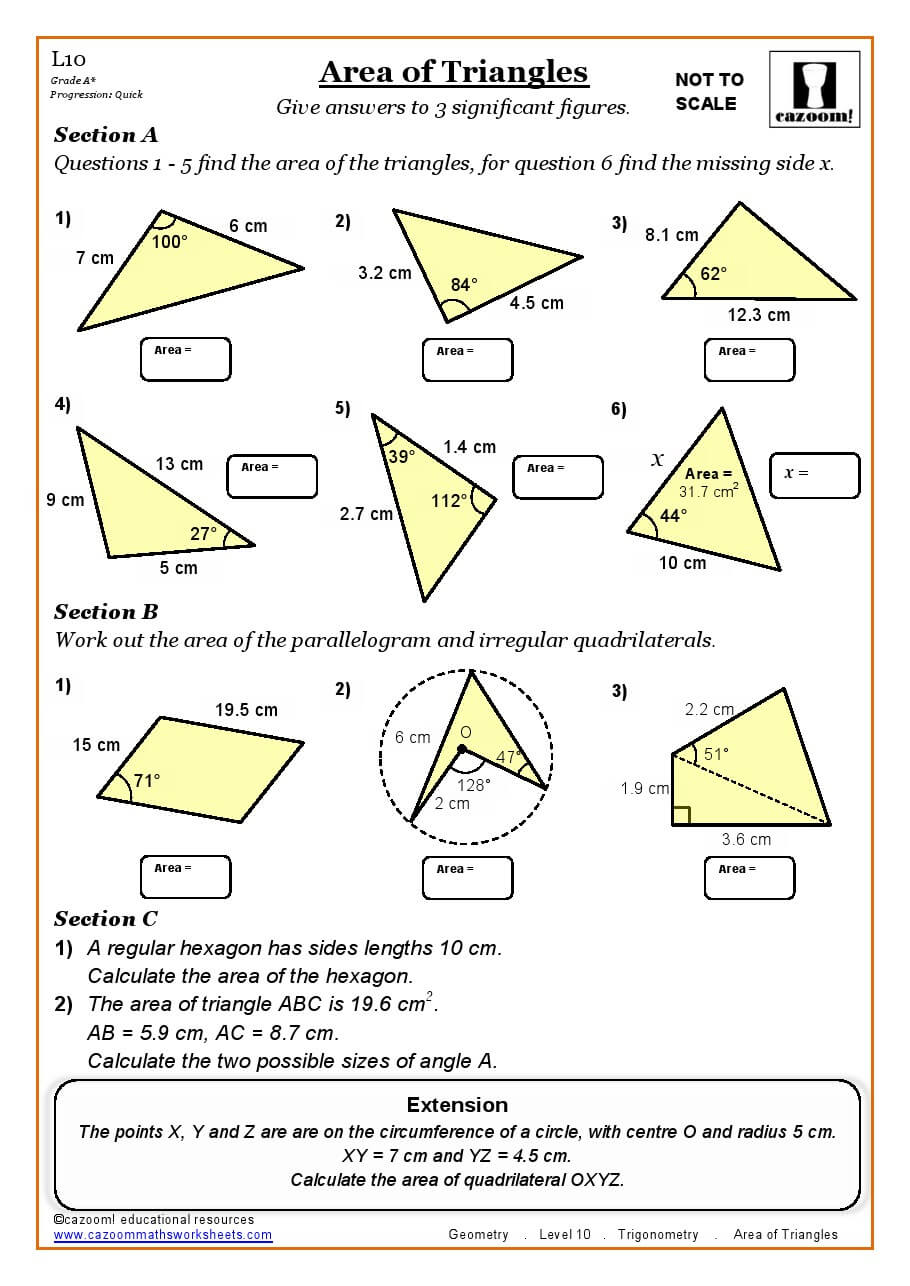 Area of a triangle worksheets 5th grade free