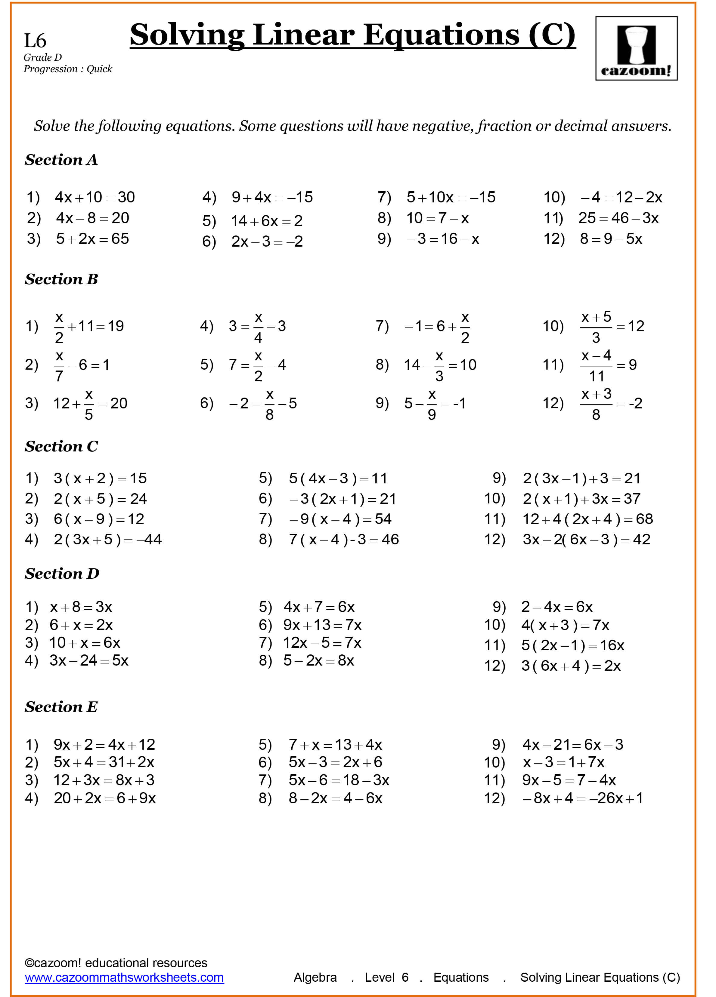 Cazoom Maths Worksheets Year 8 Math Worksheets