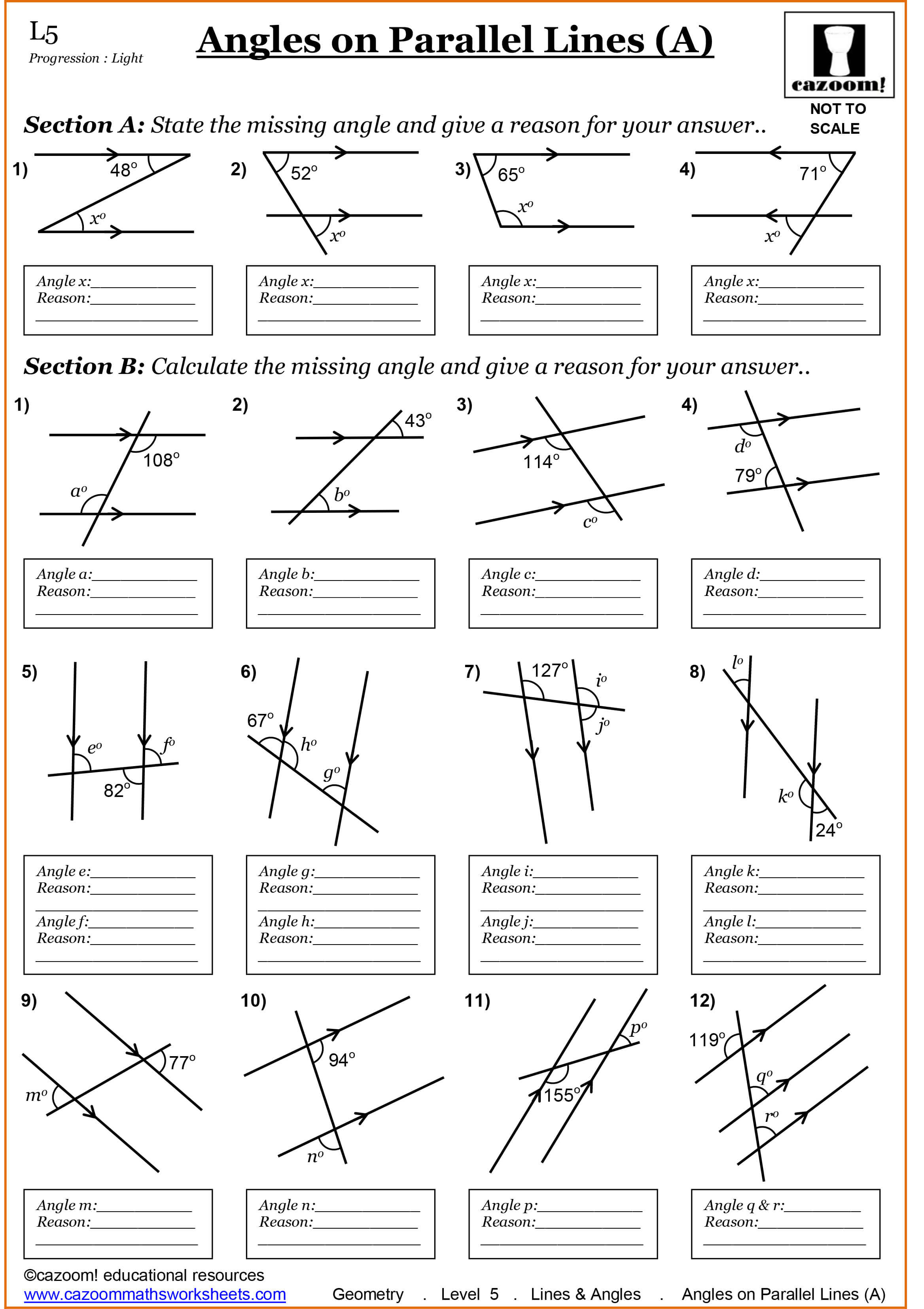 worksheet Lines And Angles Worksheet year 7 maths worksheets cazoom angles on parallel lines