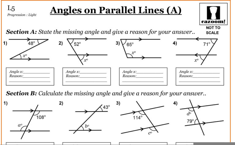 angles on parallel lines cazoom maths worksheets. Black Bedroom Furniture Sets. Home Design Ideas