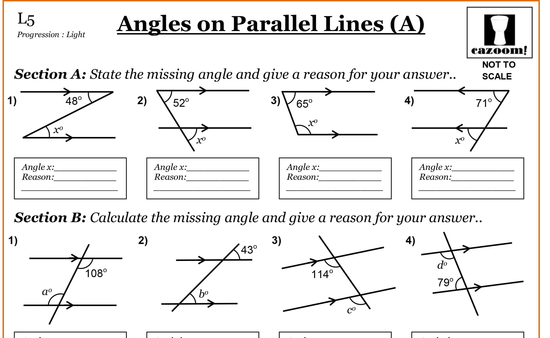 worksheet Angles And Parallel Lines Worksheet angles on parallel lines cazoom maths worksheets lines