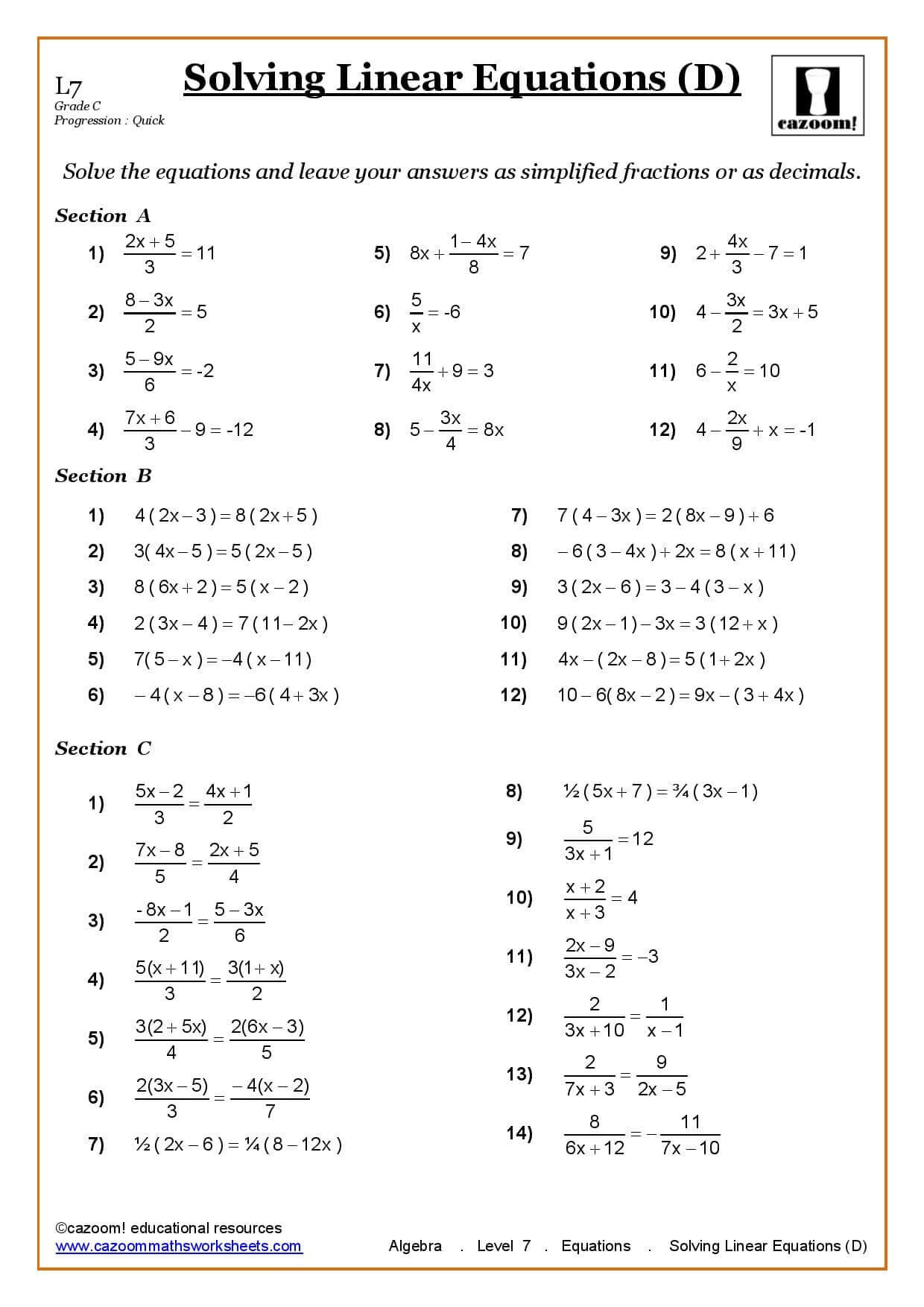 Worksheets Solving Linear Equations Worksheet solving linear equations maths worksheet cazoom worksheets worksheet