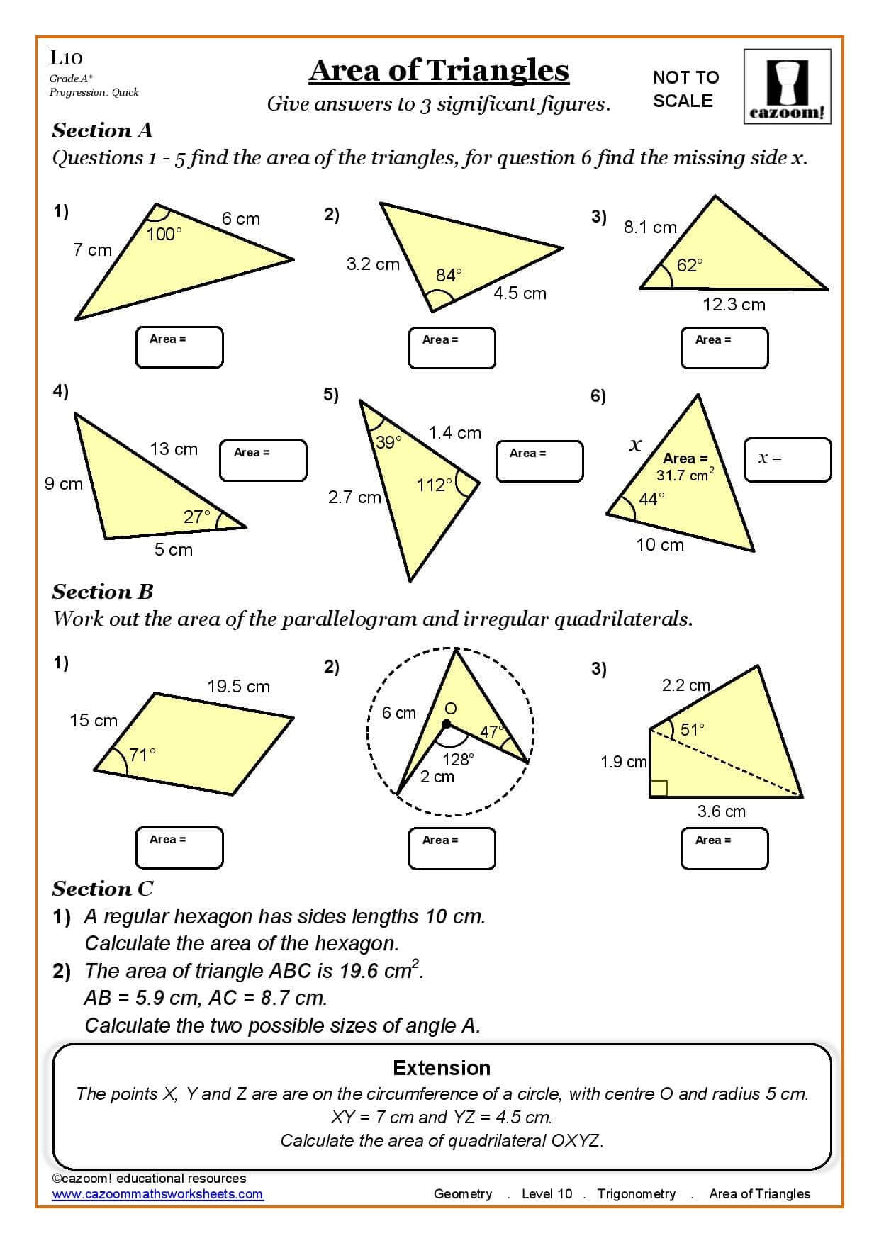 Worksheets Area Of Triangles Worksheet geometry trigonometry area of triangles maths worksheet cazoom worksheet