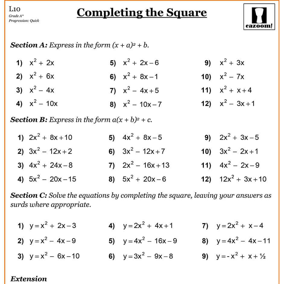 Solving quadratic equations by completing the square worksheet algebra 1