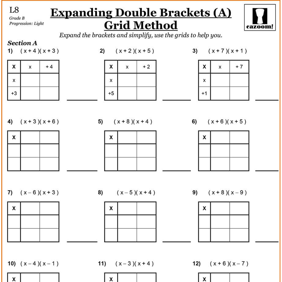 expanding brackets cazoom maths worksheets. Black Bedroom Furniture Sets. Home Design Ideas
