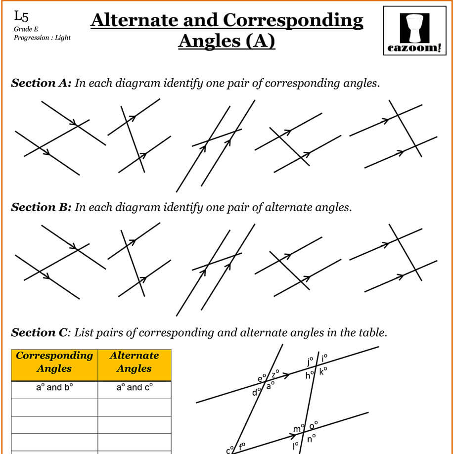 Corresponding angles worksheet