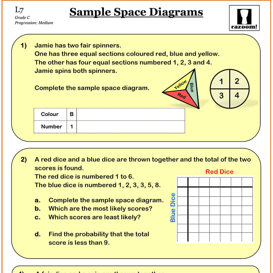 Probability Sample Space Diagrams Cazoom Maths Worksheets