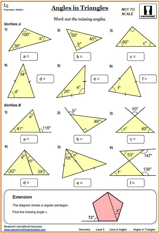 Lines And Angles Worksheets Cazoom Maths Worksheets