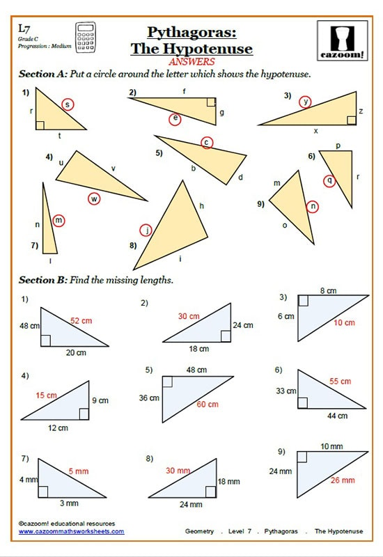 Pythagoras Worksheets Cazoom Maths Worksheets